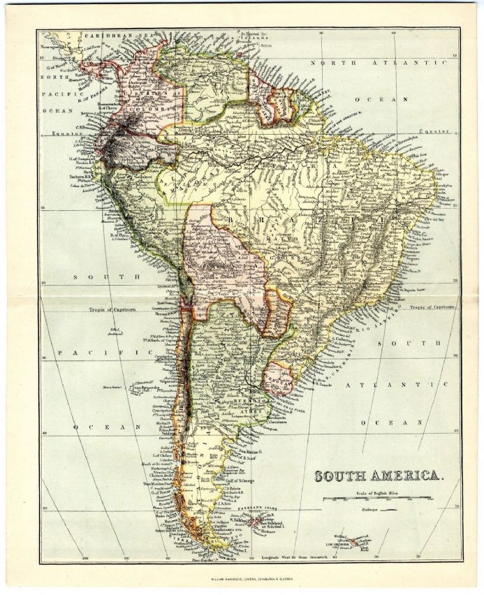 1880 Antique Map SOUTH AMERICA Brazil PATAGONIA Colombia etc. VICTORIAN